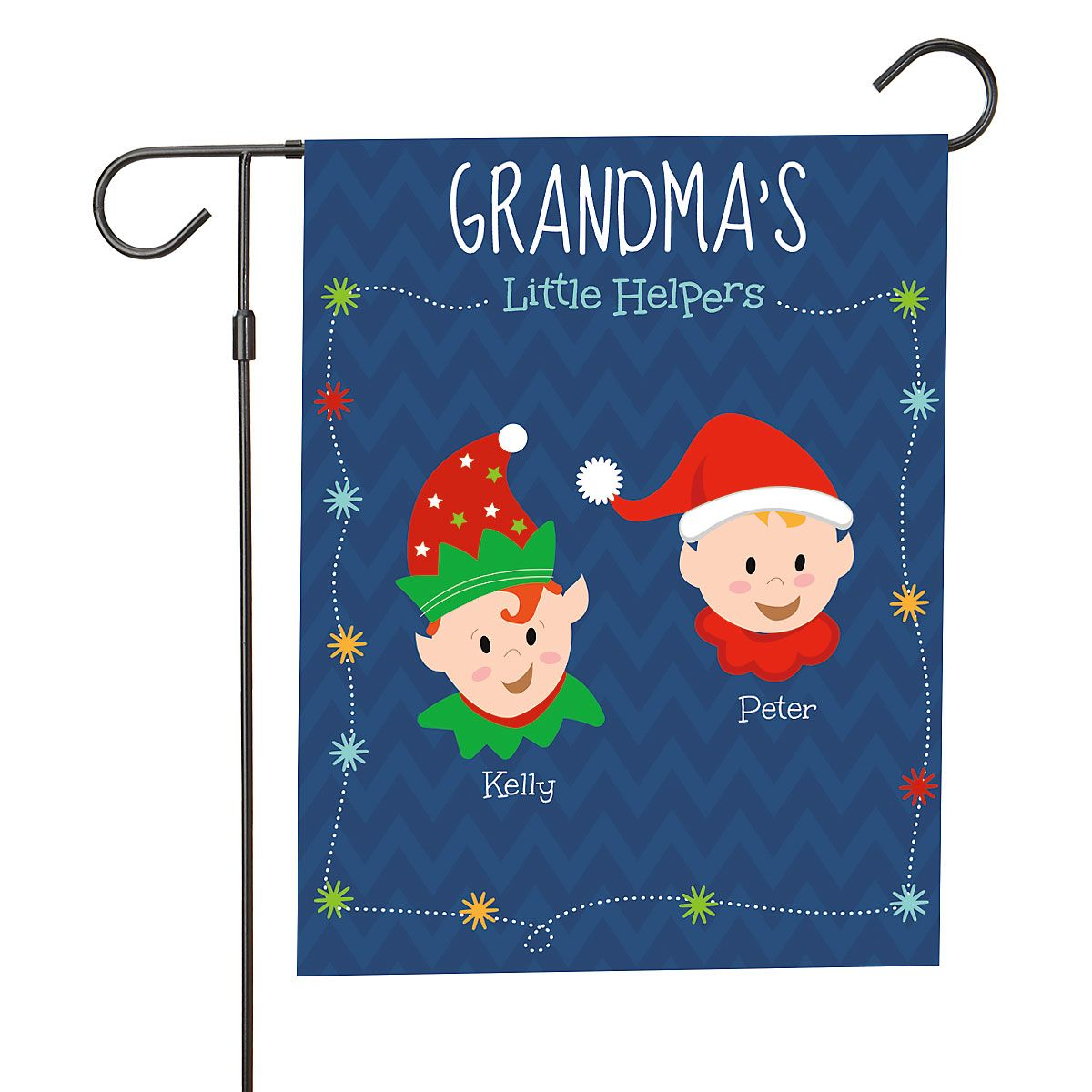 Personalized Holiday Elves Garden Flag - 2 Elves