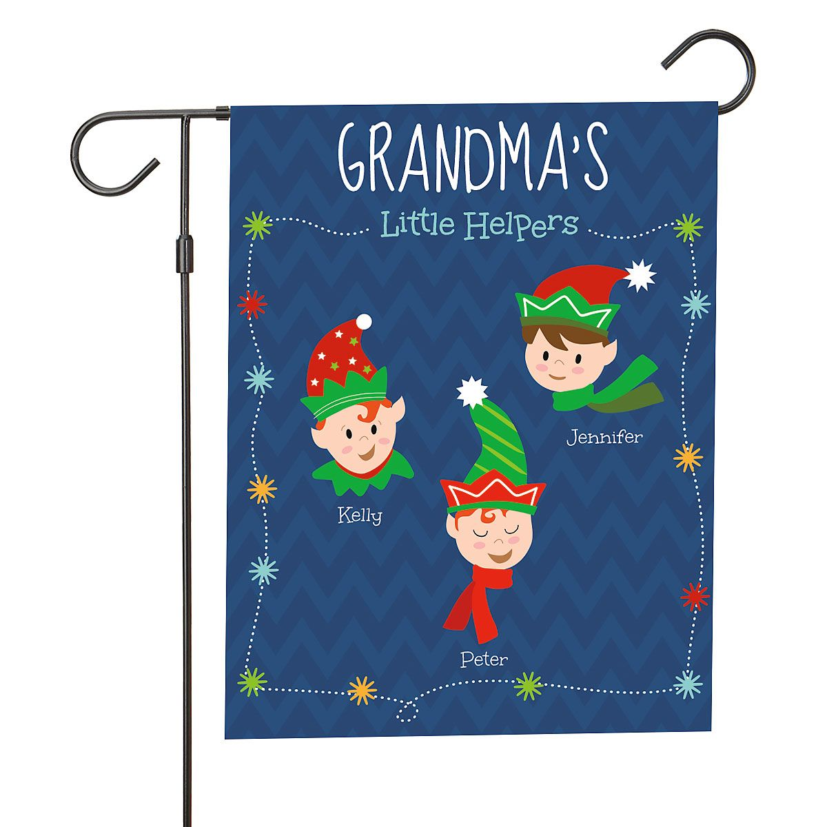 Personalized Holiday Elves Garden Flag - 3 Elves