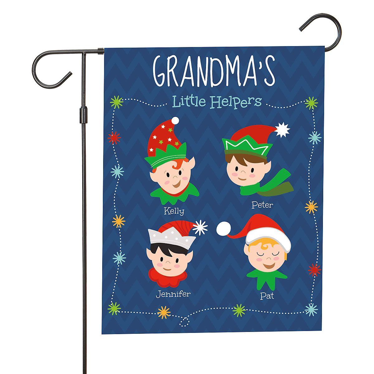 Personalized Holiday Elves Garden Flag - 4 Elves