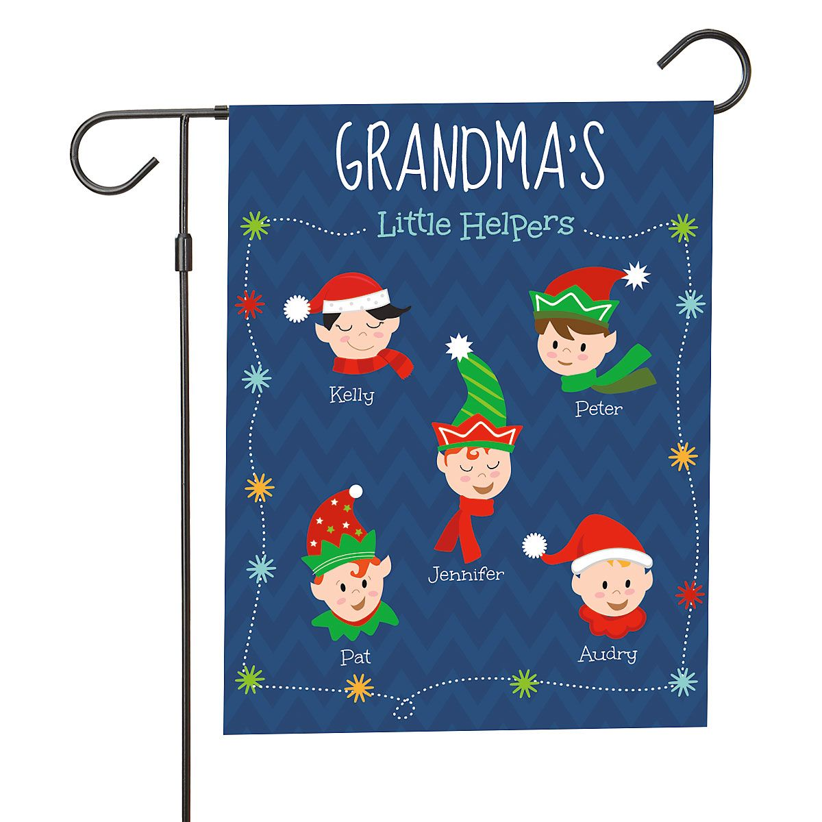 Personalized Holiday Elves Garden Flag - 5 Elves