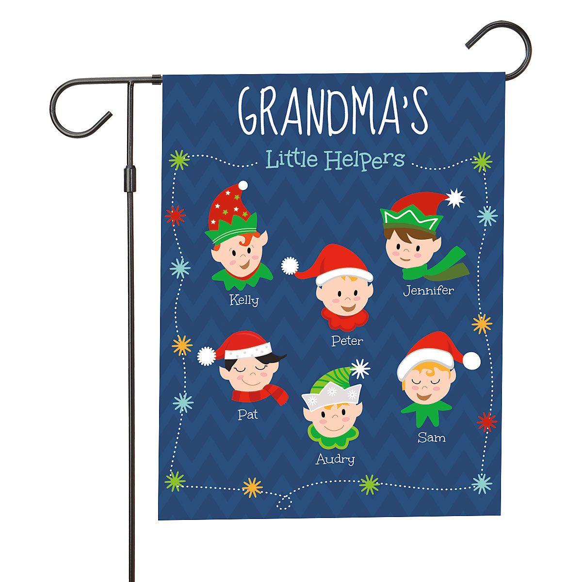 Personalized Holiday Elves Garden Flag - 6 Elves