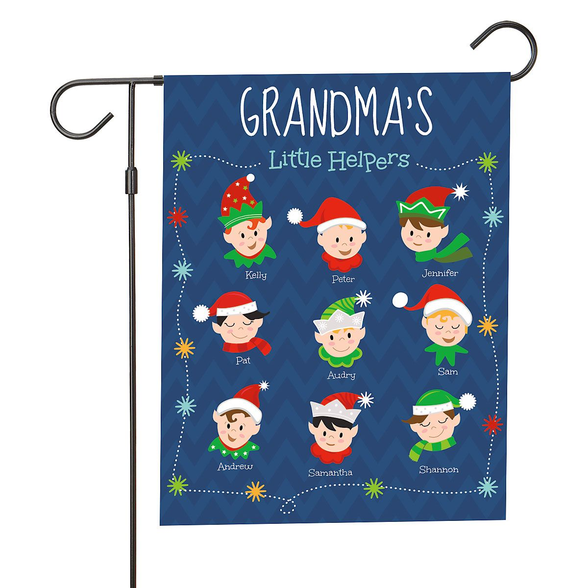 Personalized Holiday Elves Garden Flag - 9 Elves