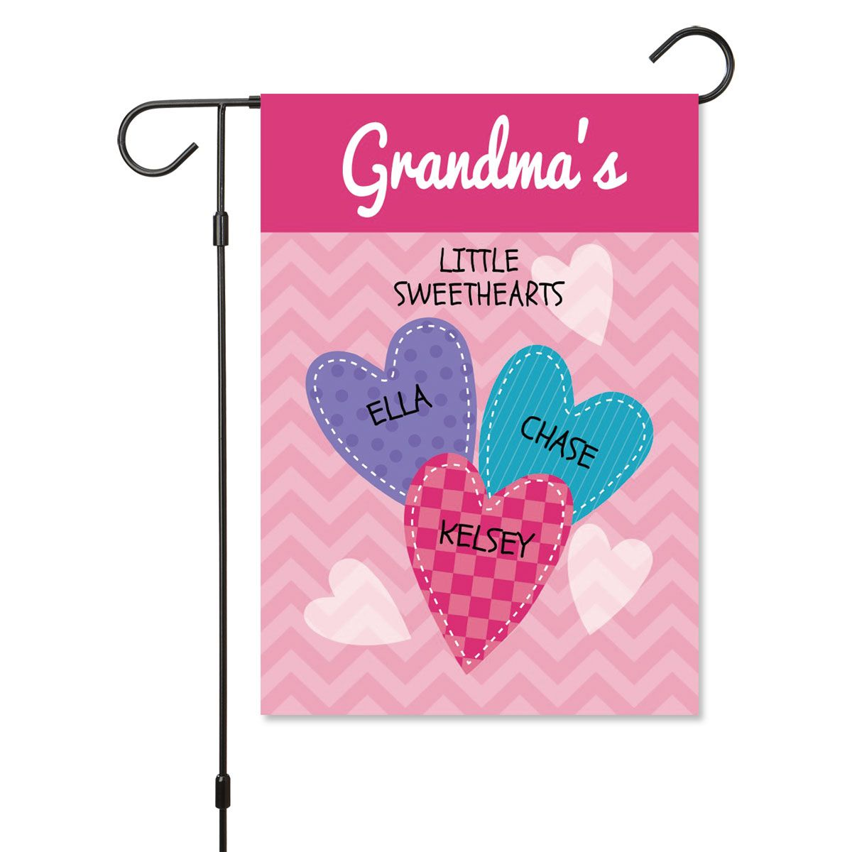 Personalized Valentine Garden Flag - 3 Hearts