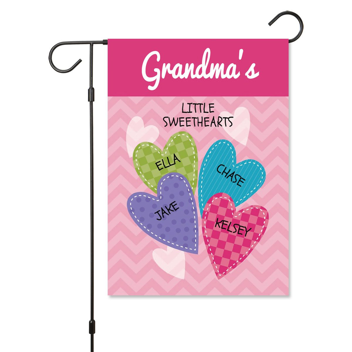Personalized Valentine Garden Flag - 4 Hearts