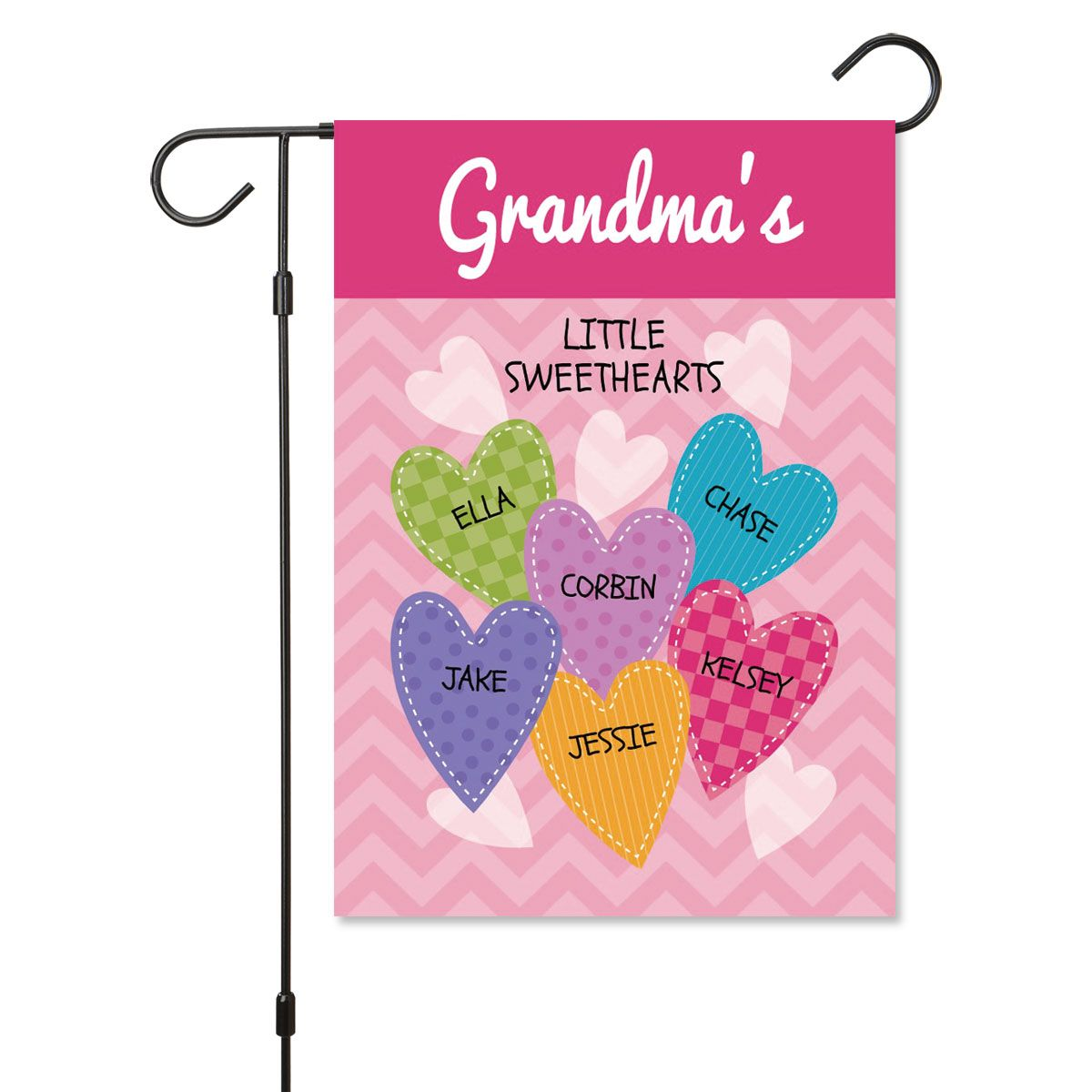 Personalized Valentine Garden Flag - 6 Hearts