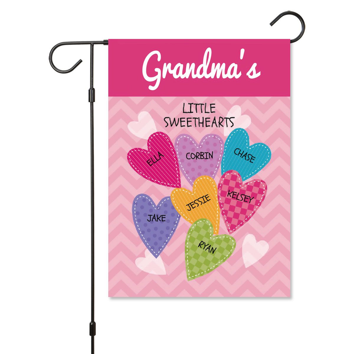 Personalized Valentine Garden Flag - 7 Hearts