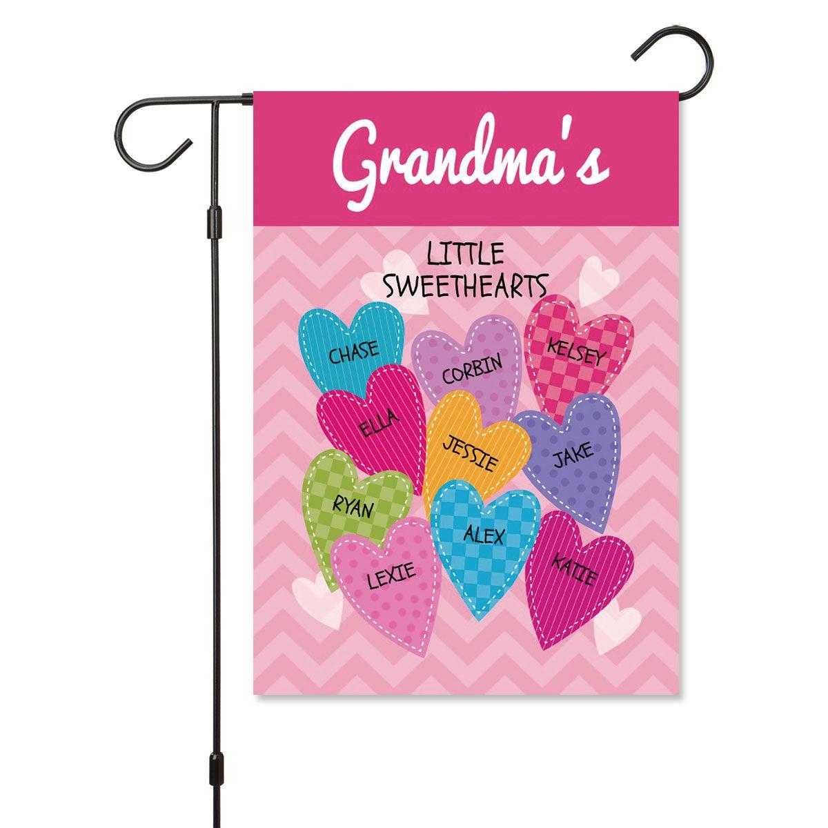 Personalized Valentine Garden Flag - 10 Hearts