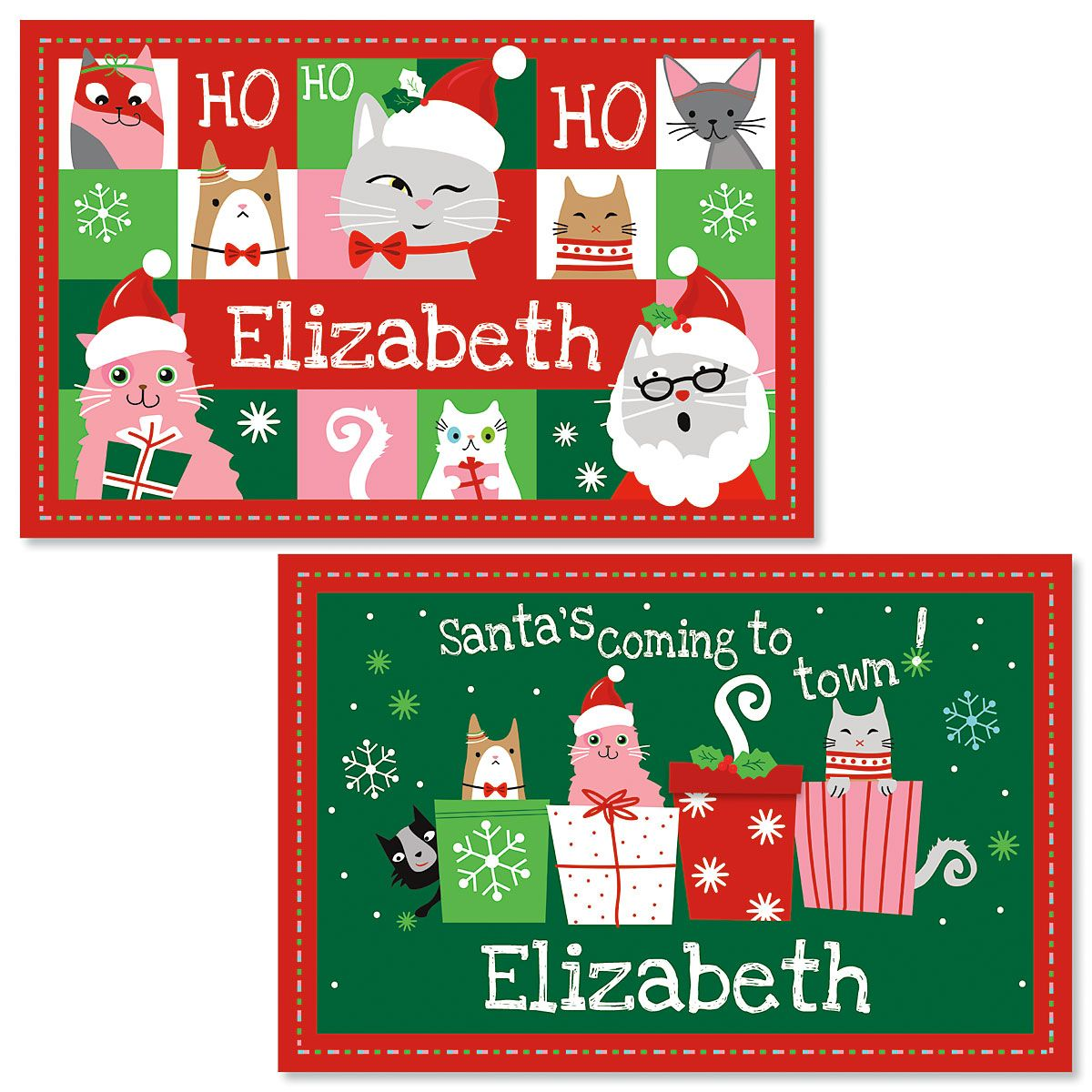 Personalized Christmas Cat Kids' Placemats