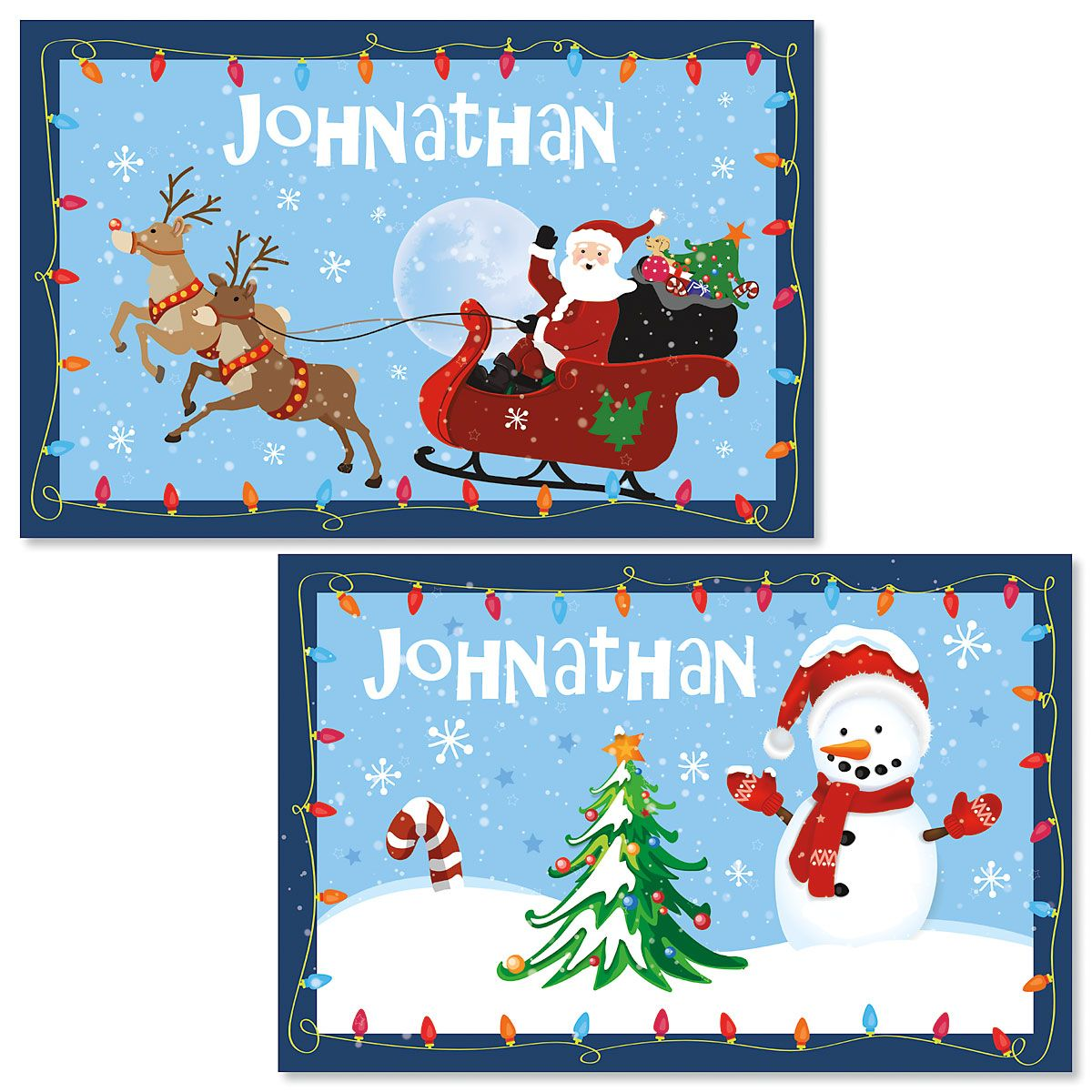 Personalized Santa & Sleigh Kids' Christmas Placemat