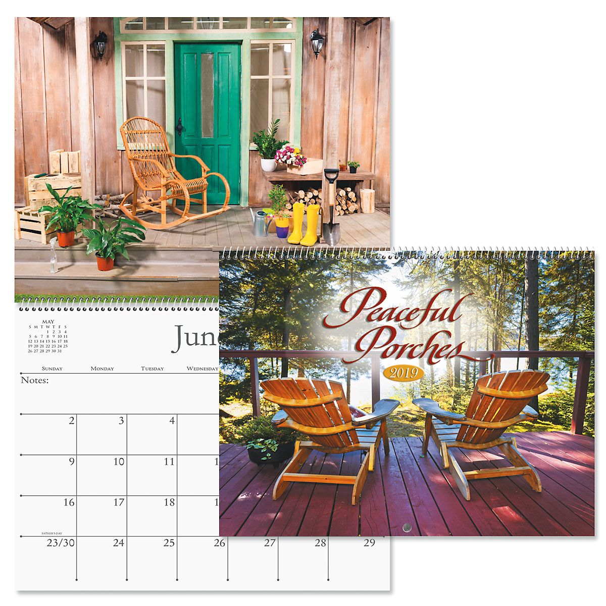2019 Peaceful Porches Wall Calendar