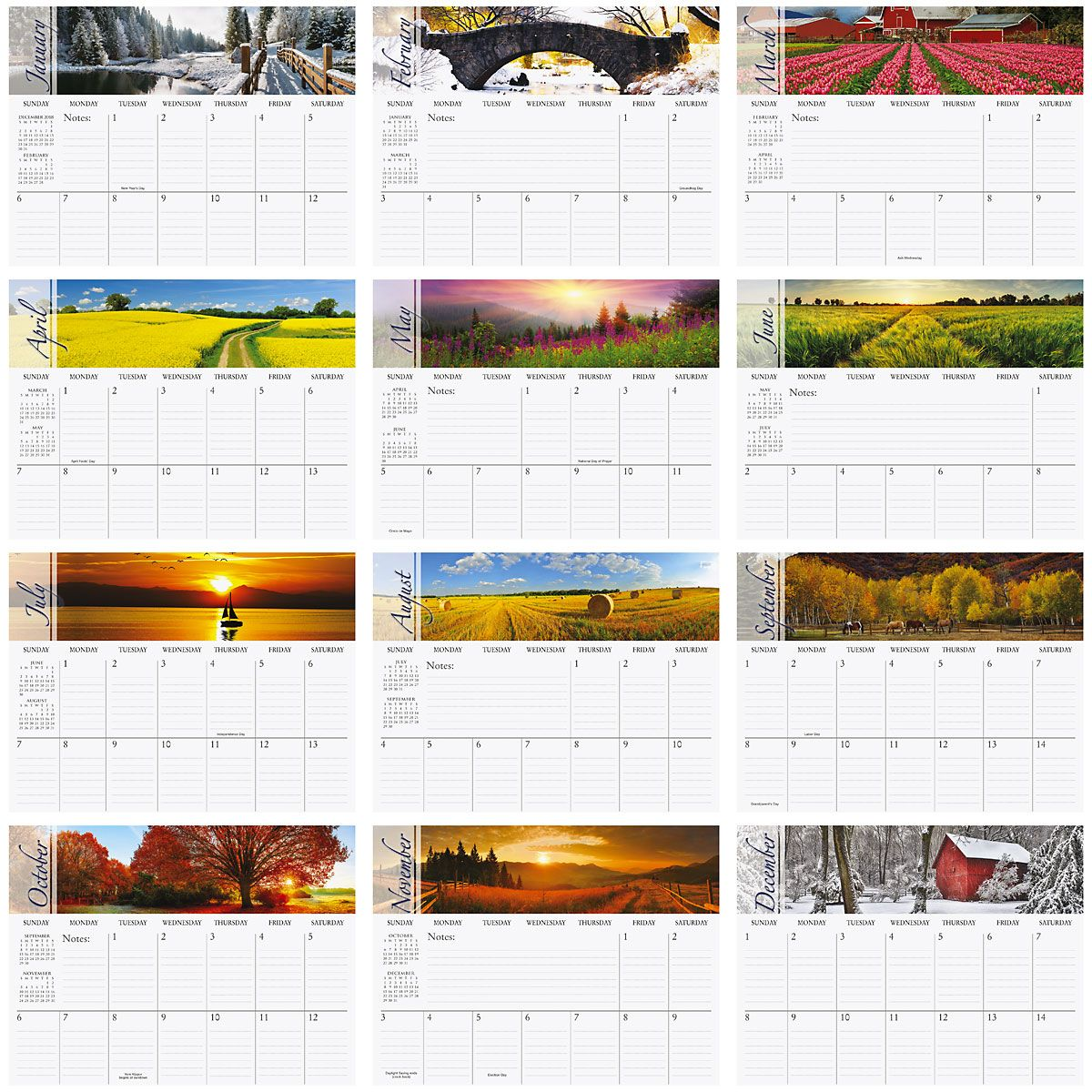2019 Changing Seasons Big Grid Planning Calendar