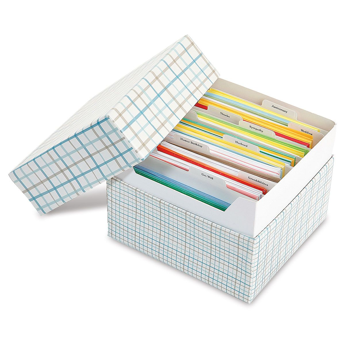 Stripes Greeting Card Organizer Box and Labels