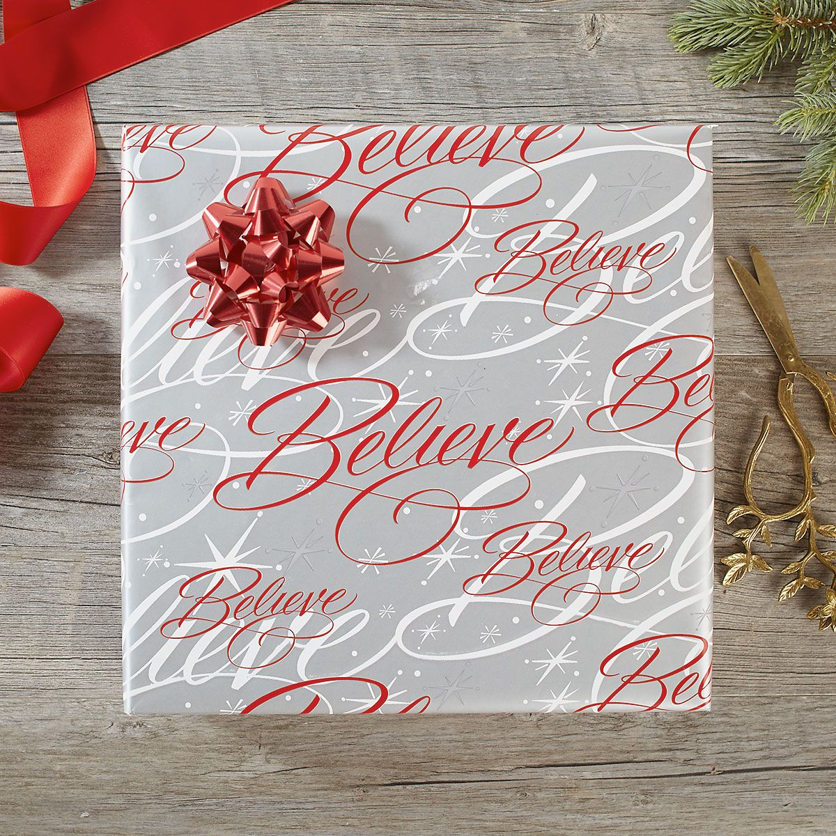 Believe Silver Jumbo Rolled Gift Wrap and Labels