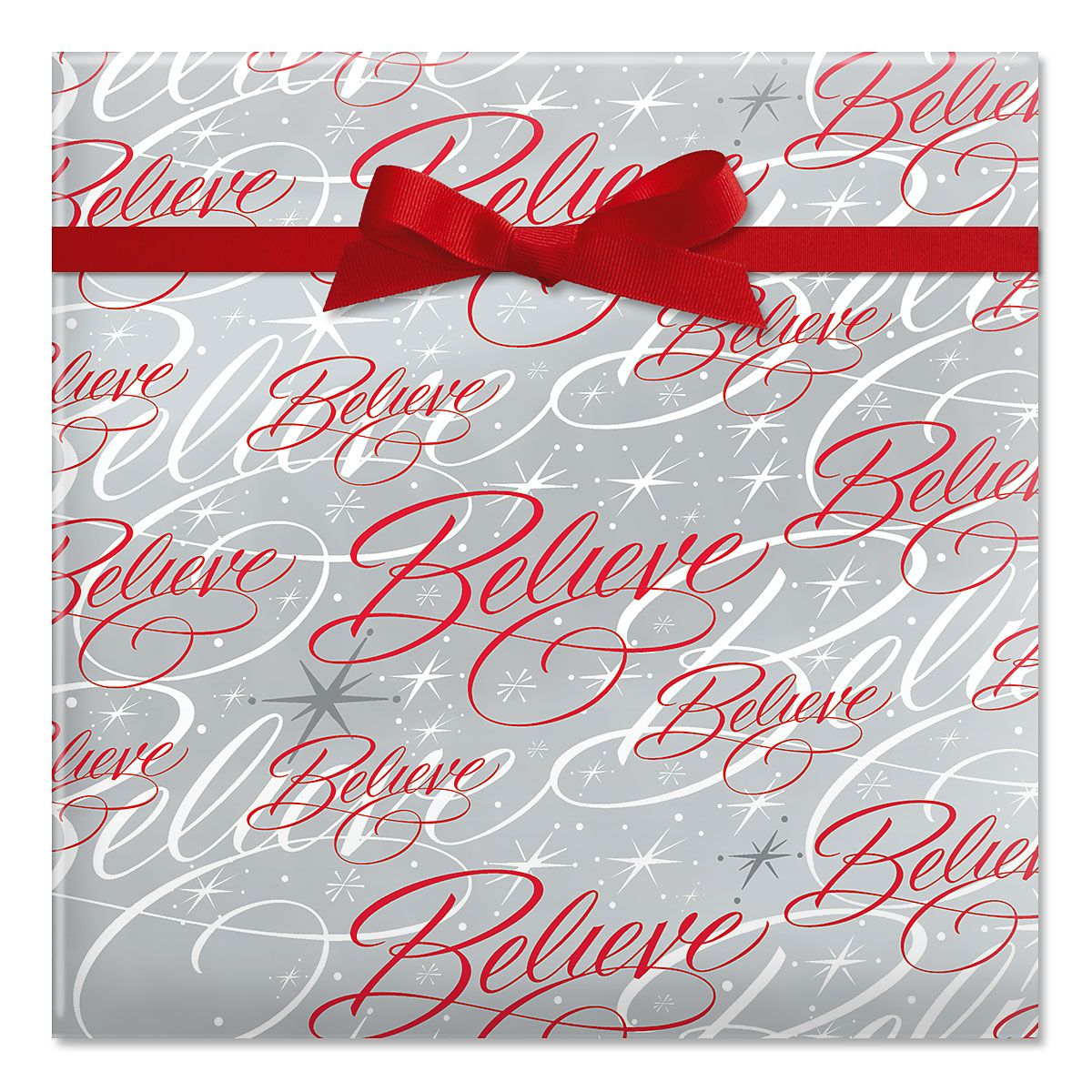 Believe Silver Jumbo Rolled Gift Wrap