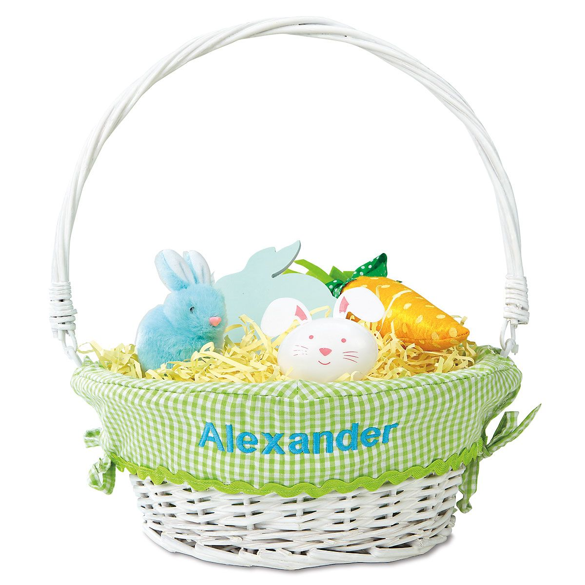 Personalized Wicker Easter Basket with Green Liner