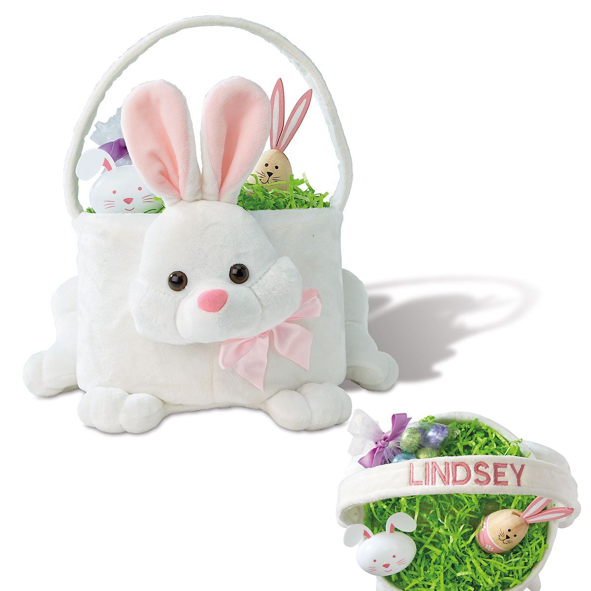 Kids Personalized Plush Pink Easter Bunny Basket