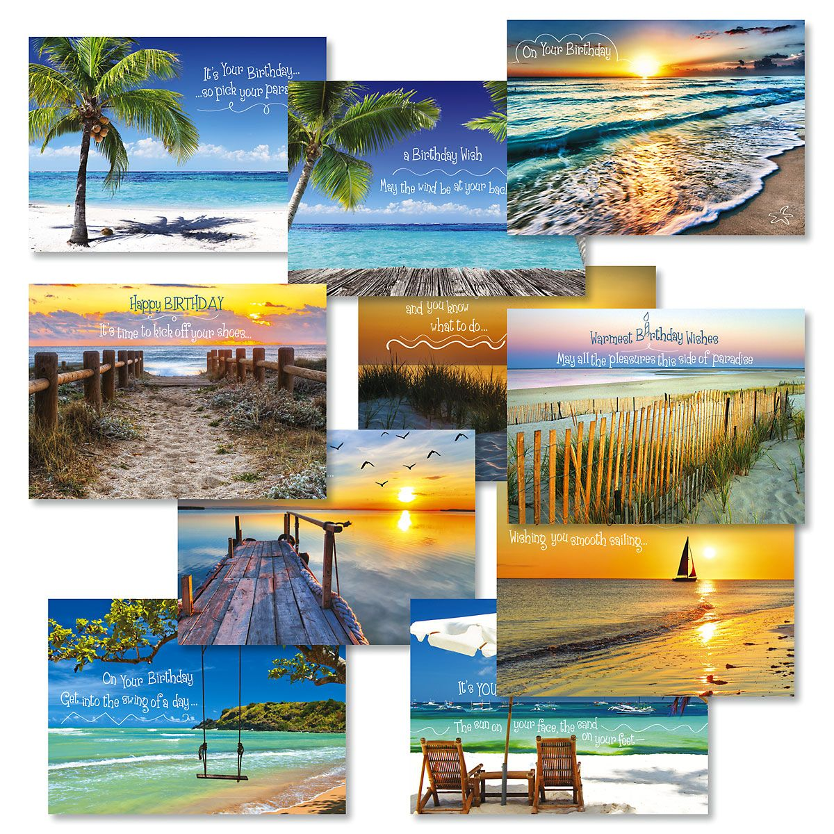 Coastal Birthday Greeting Cards Value Pack