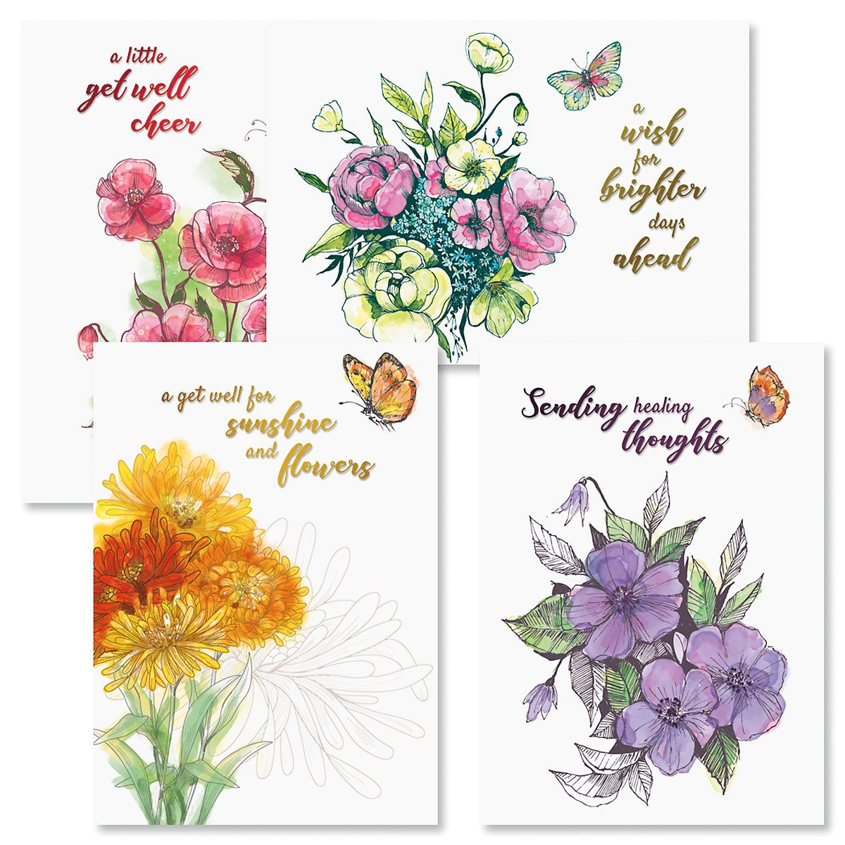Deluxe Sketched Get Well Cards and Seals