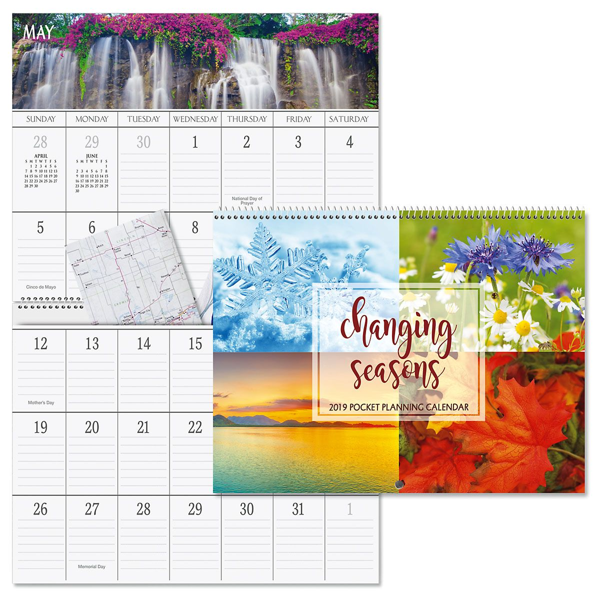 2019 Four Seasons Big Grid Planning Calendar with Pockets