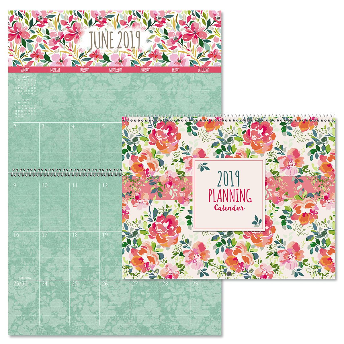 2019 Kraft Floral Big Grid Planning Calendar