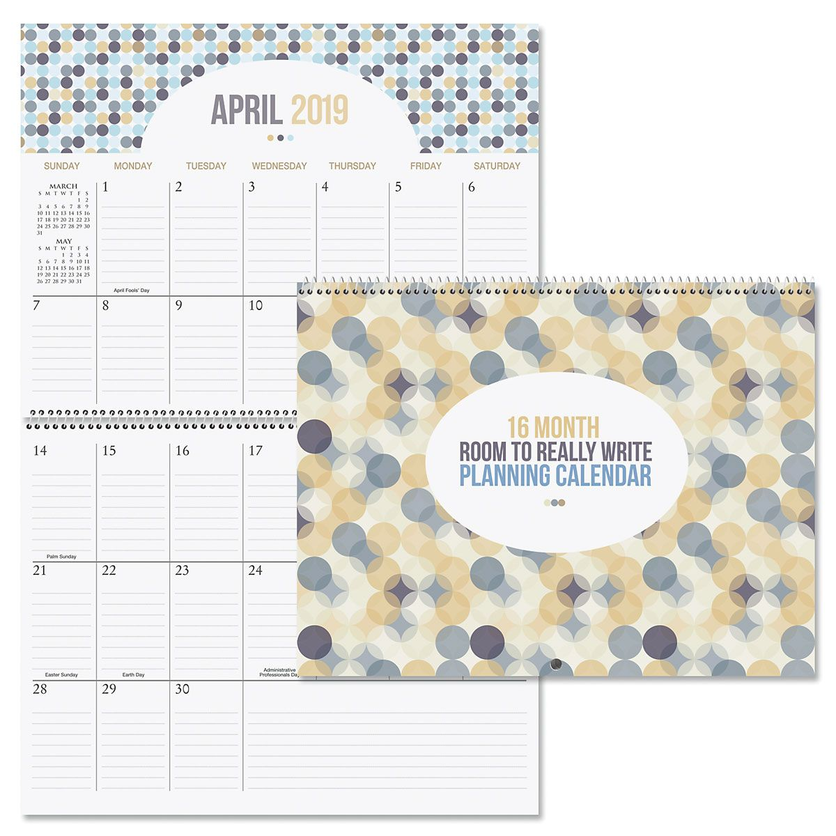 2019 Room to Write Big Grid 16-Month Planning Calendar