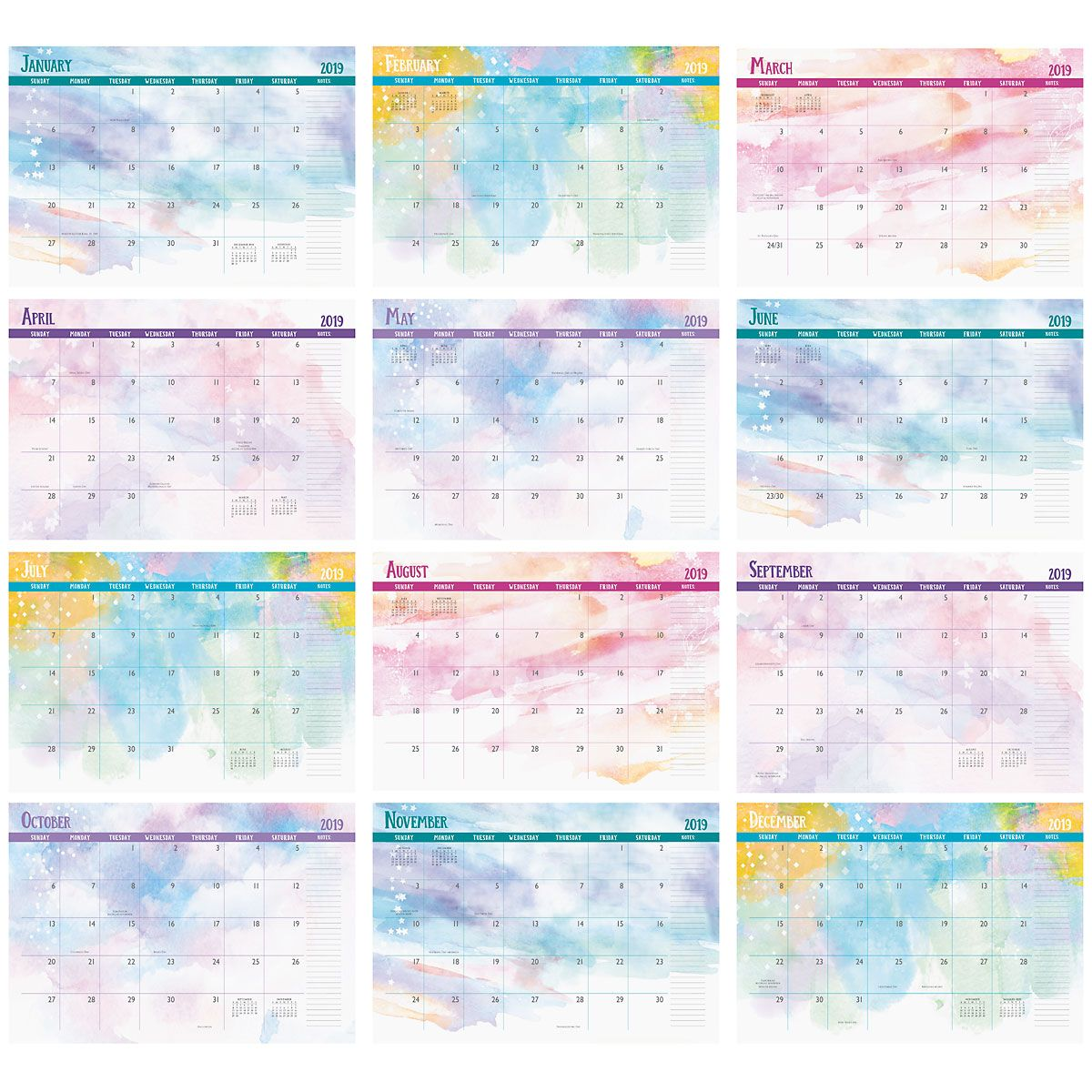2019 Brush Strokes Deluxe Desk Calendar