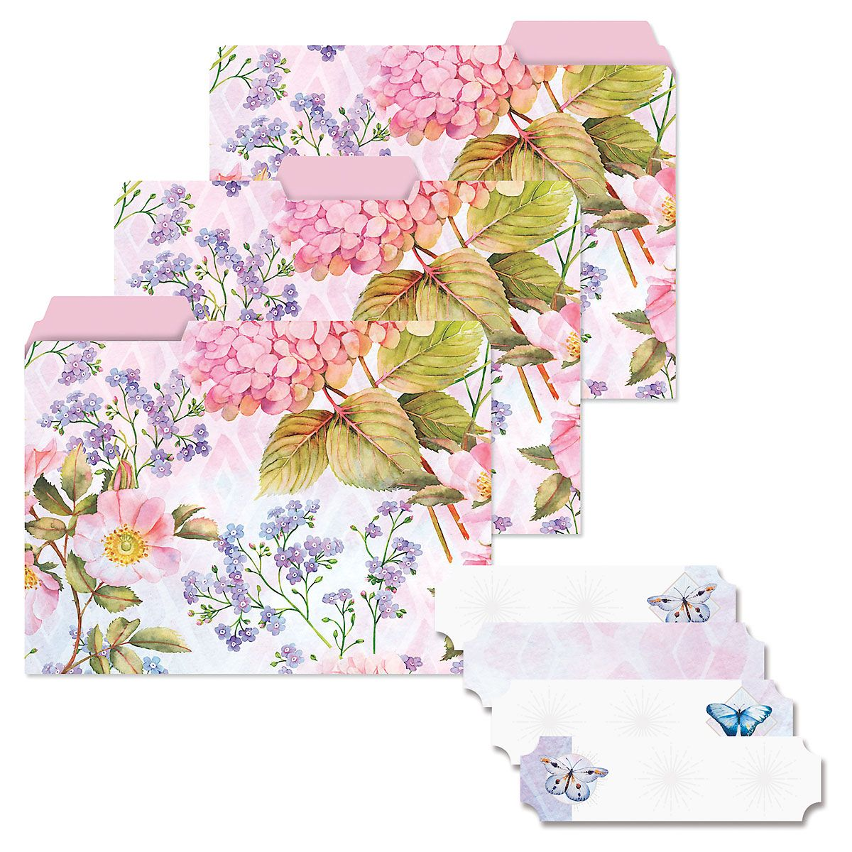 Butterfly Florals File Folders & Tab Stickers