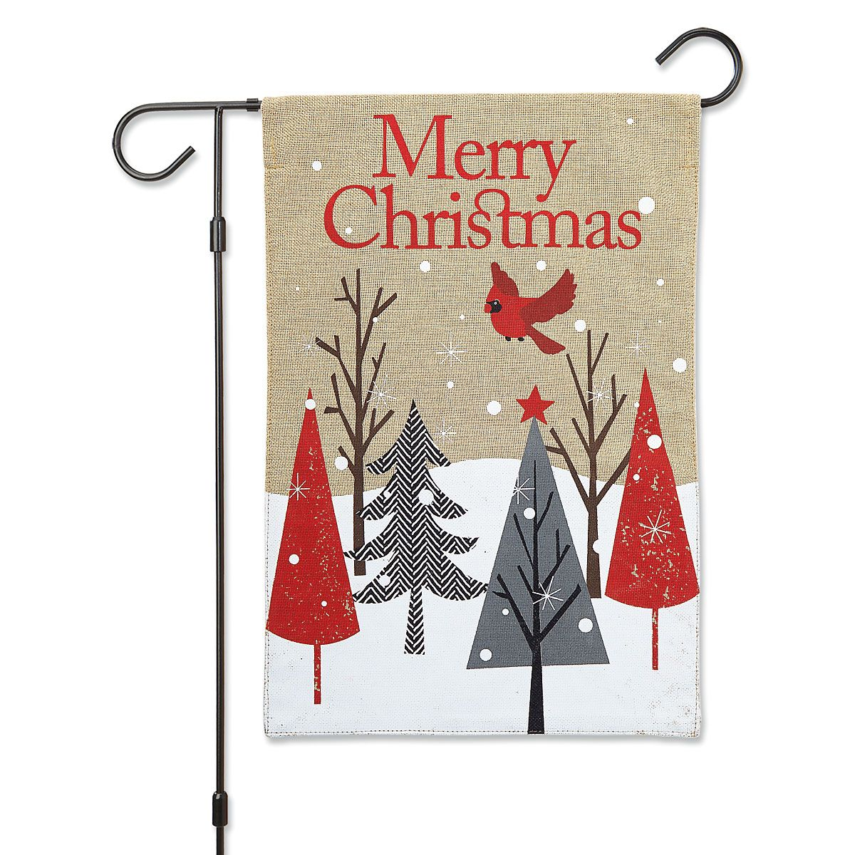 Cardinal & Trees Christmas Garden Flag