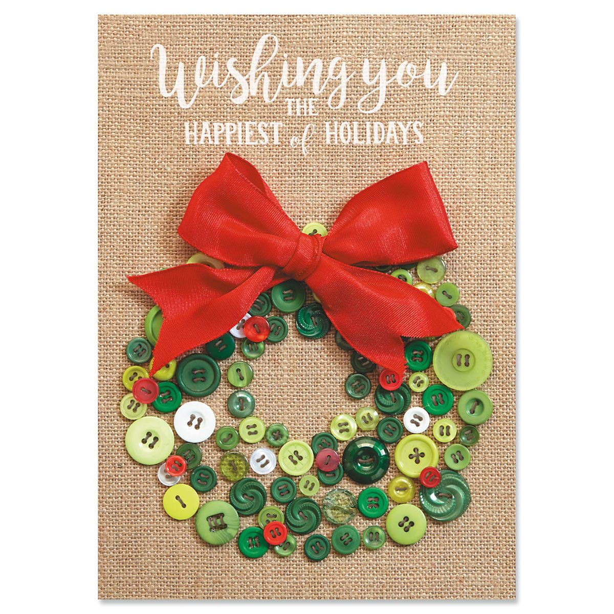 Button Wreath Christmas Cards
