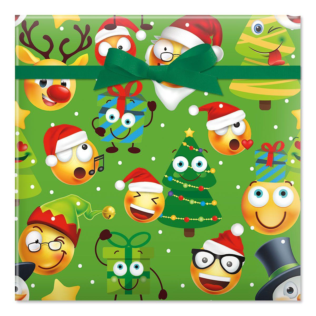 Christmas Emoji Jumbo Rolled Gift Wrap