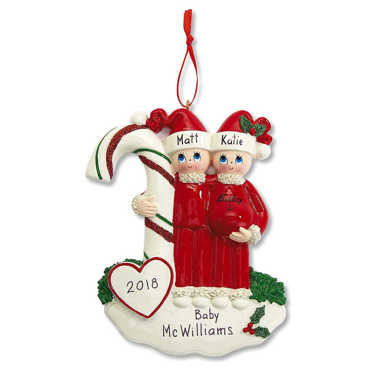Candy Cane Baby Personalized Christmas Ornament