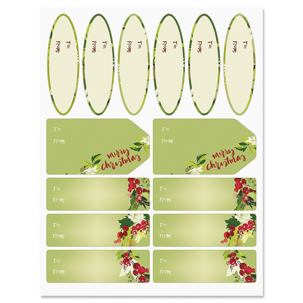 Christmas Wreaths Gift Labels