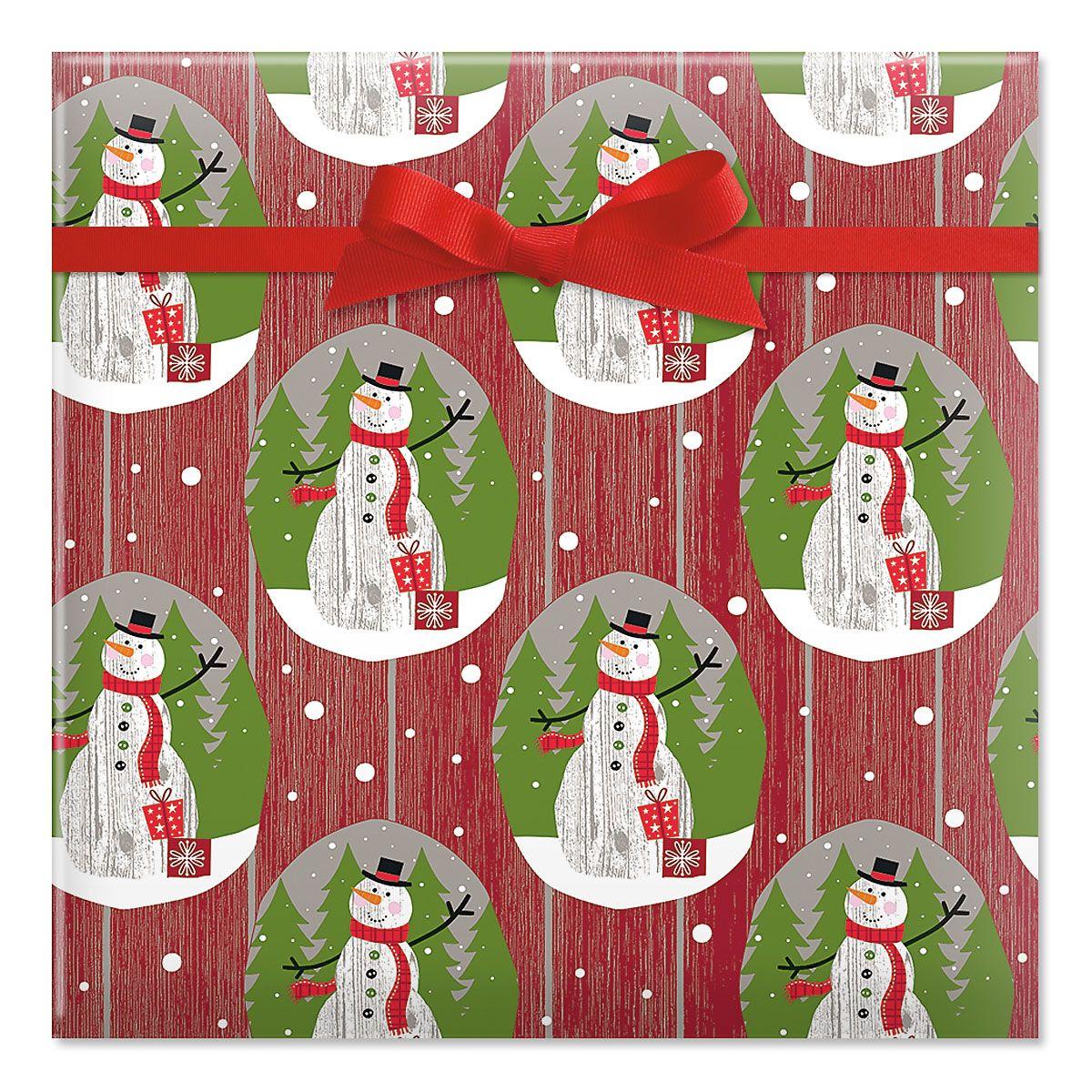 Wood Paneled Snowman Jumbo Rolled Gift Wrap