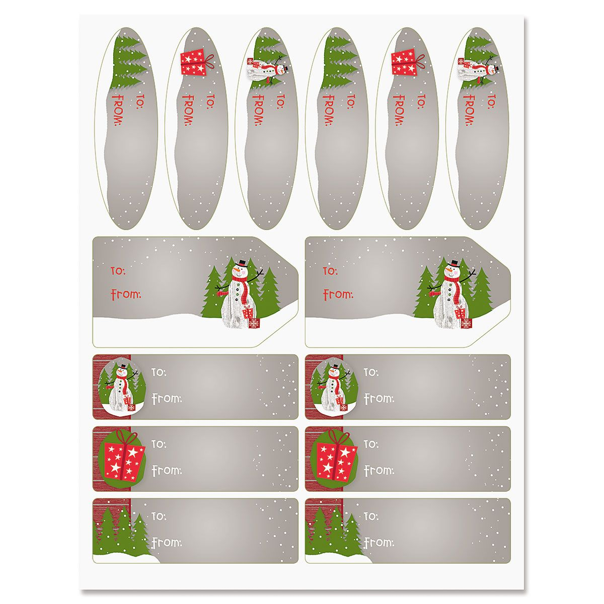 Wood Paneled Snowman Labels