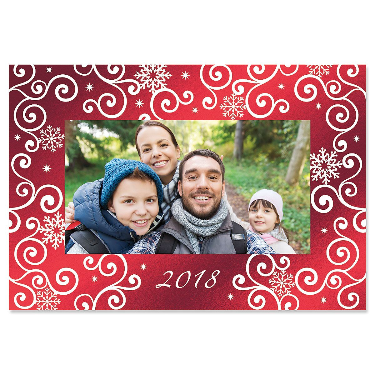 Deluxe Snowflake Photo Sleeve Christmas Cards