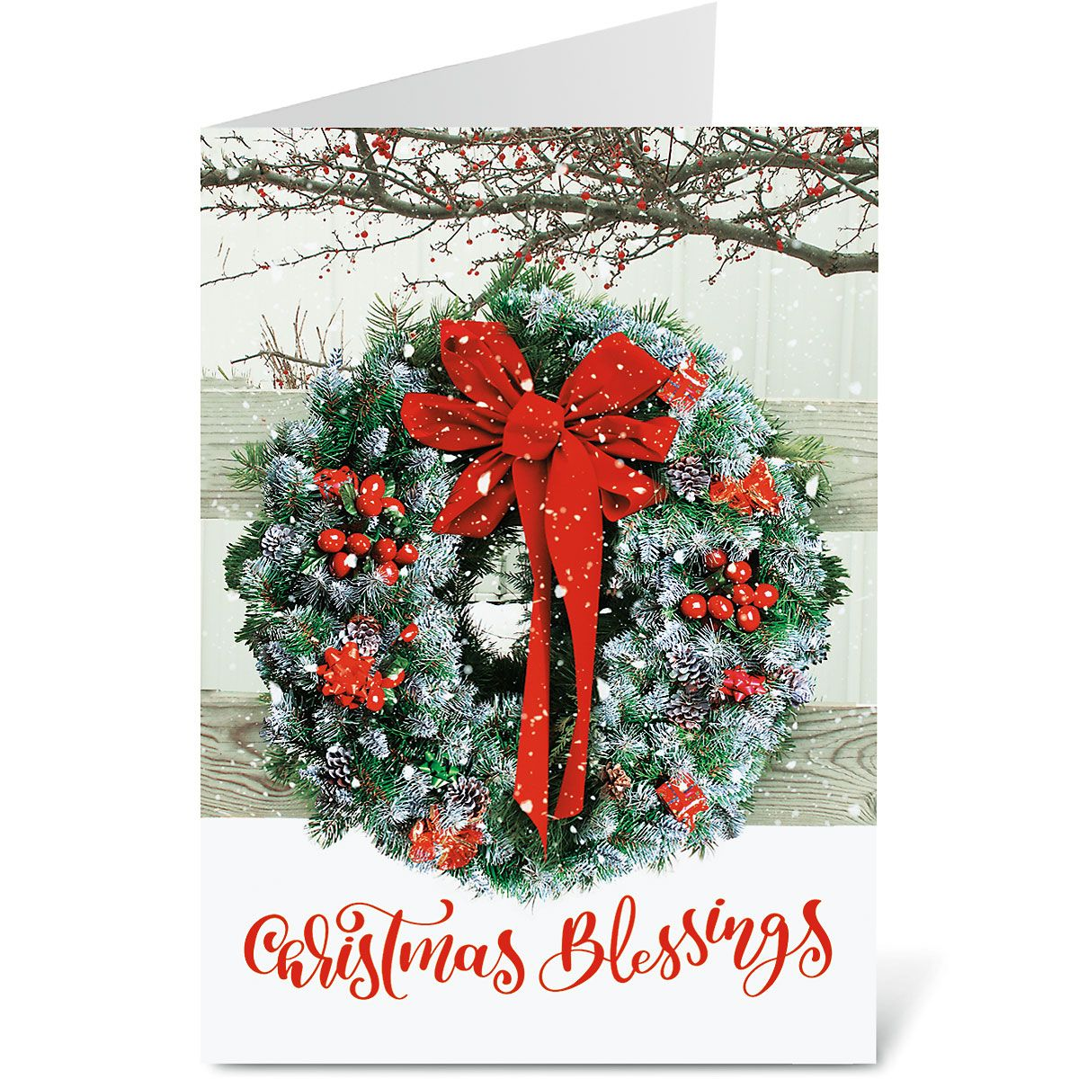 Wreath In Snow Religious Christmas Cards