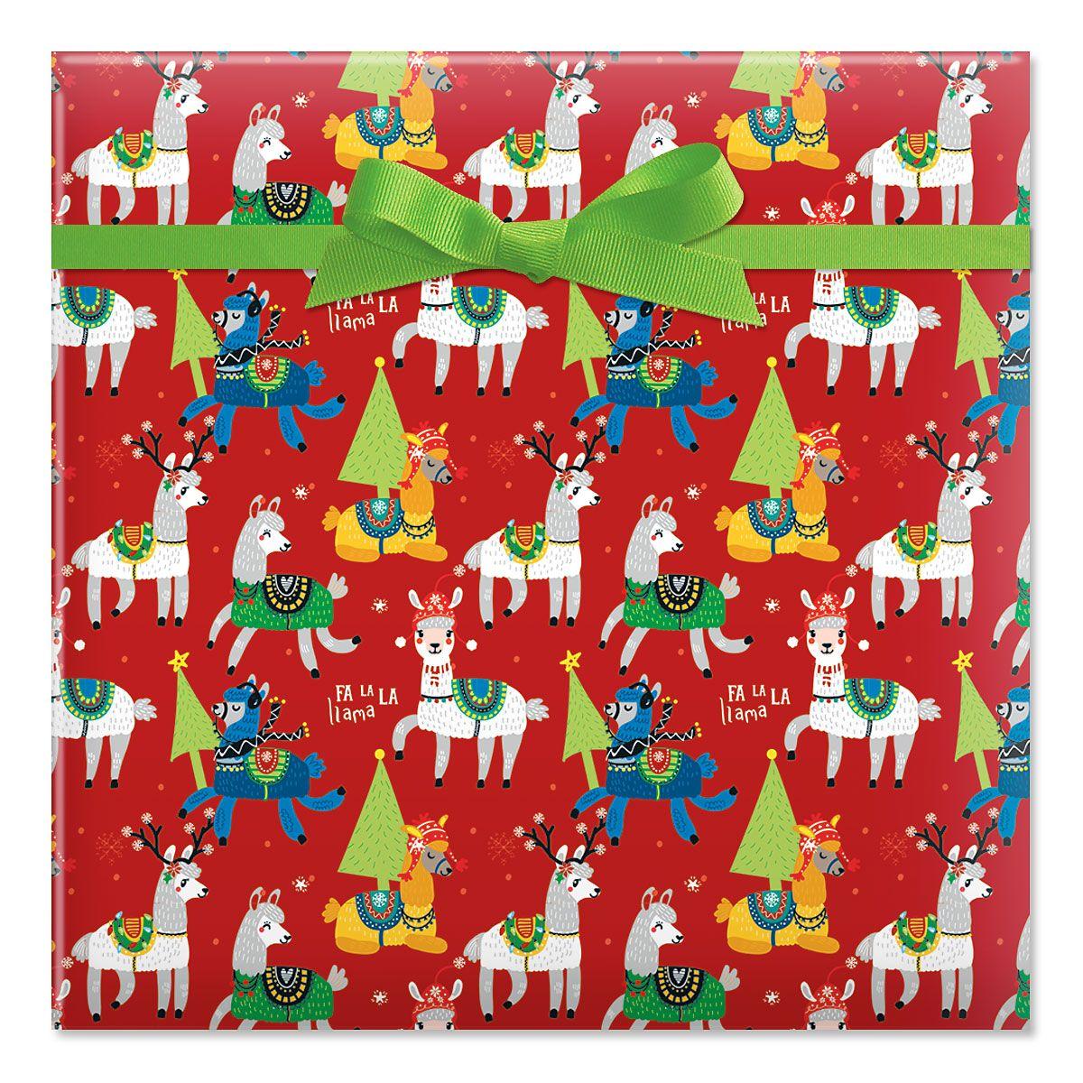 Merry Llamas Jumbo Rolled Gift Wrap