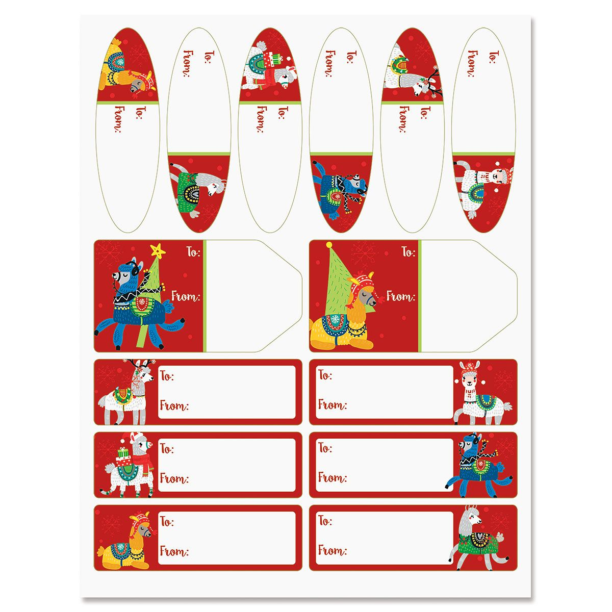 Merry Llamas Christmas Gift Labels