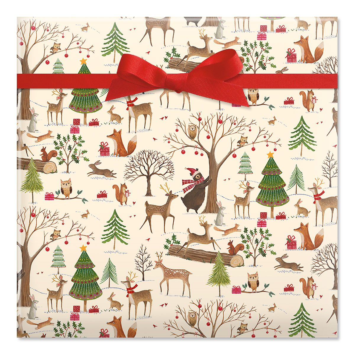 Christmas Woods Jumbo Rolled Gift Wrap