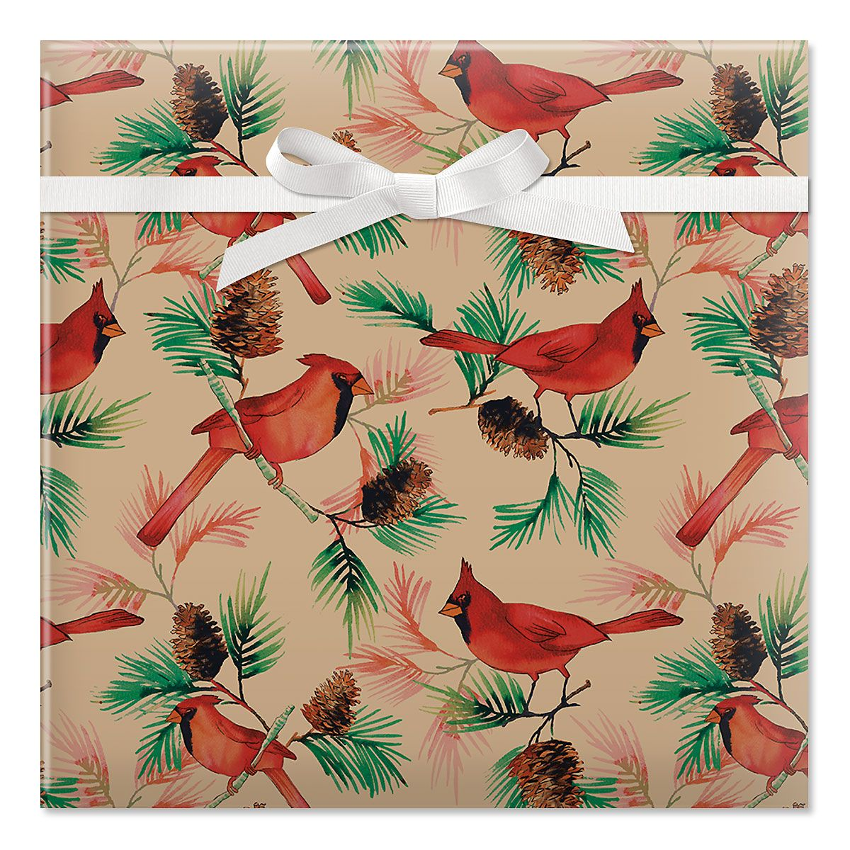 Christmas Cardinals  Jumbo Rolled Gift Wrap