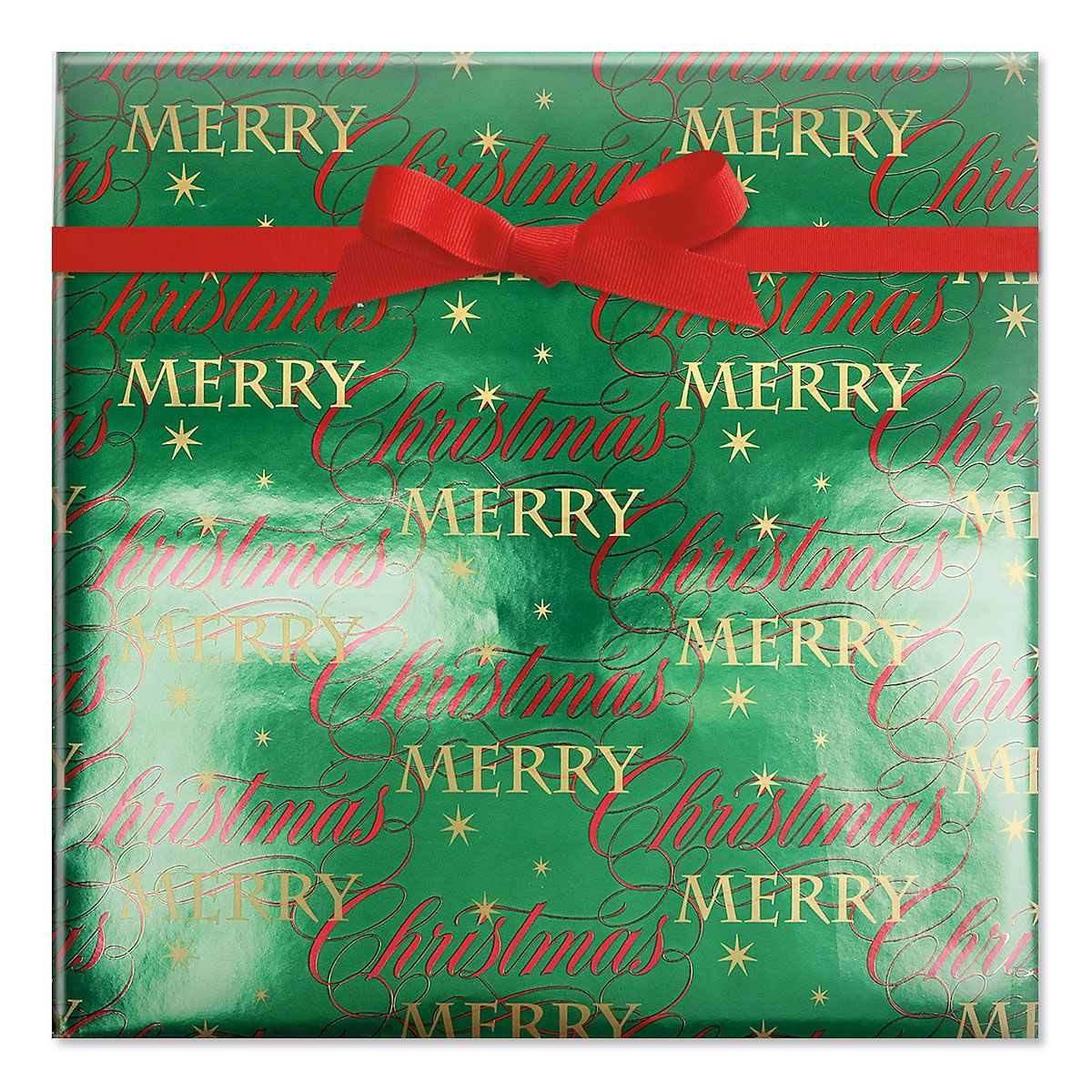 Merry Christmas Wishes Foil Rolled Gift Wrap