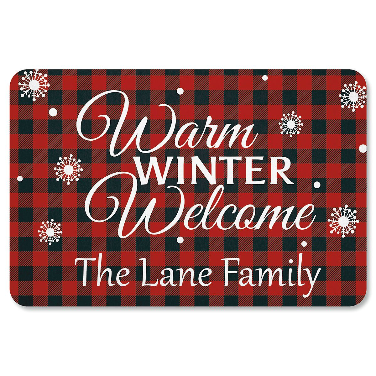 Buffalo Plaid Personalized Christmas Doormat