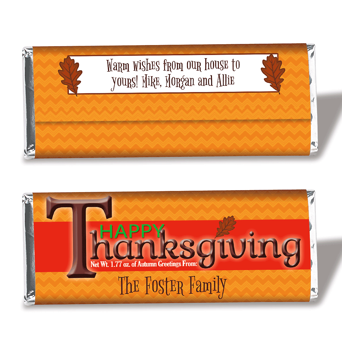 Personalized Thanksgiving Candy Bar Wrappers