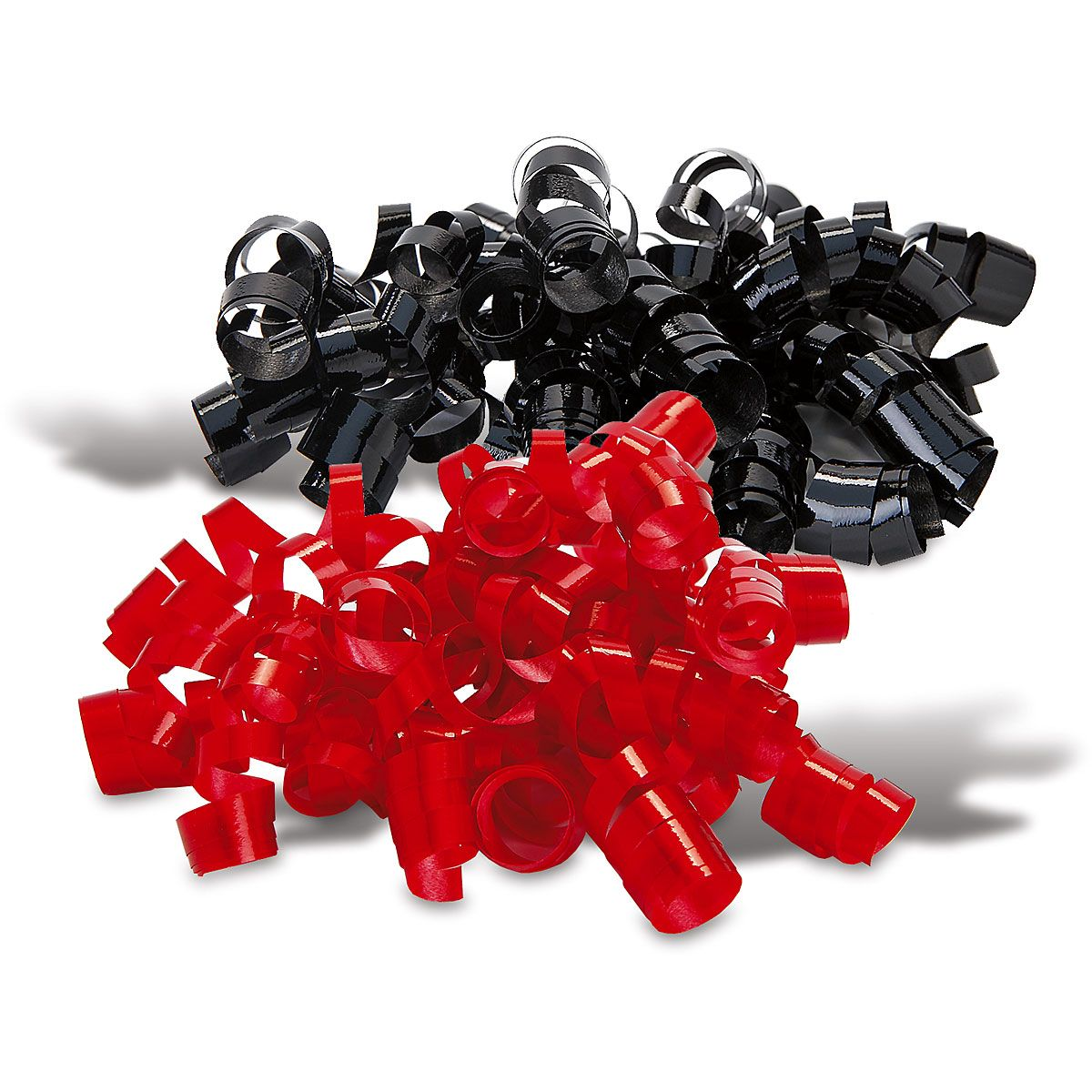 Black and Red Curling Ribbons and Curly Bows