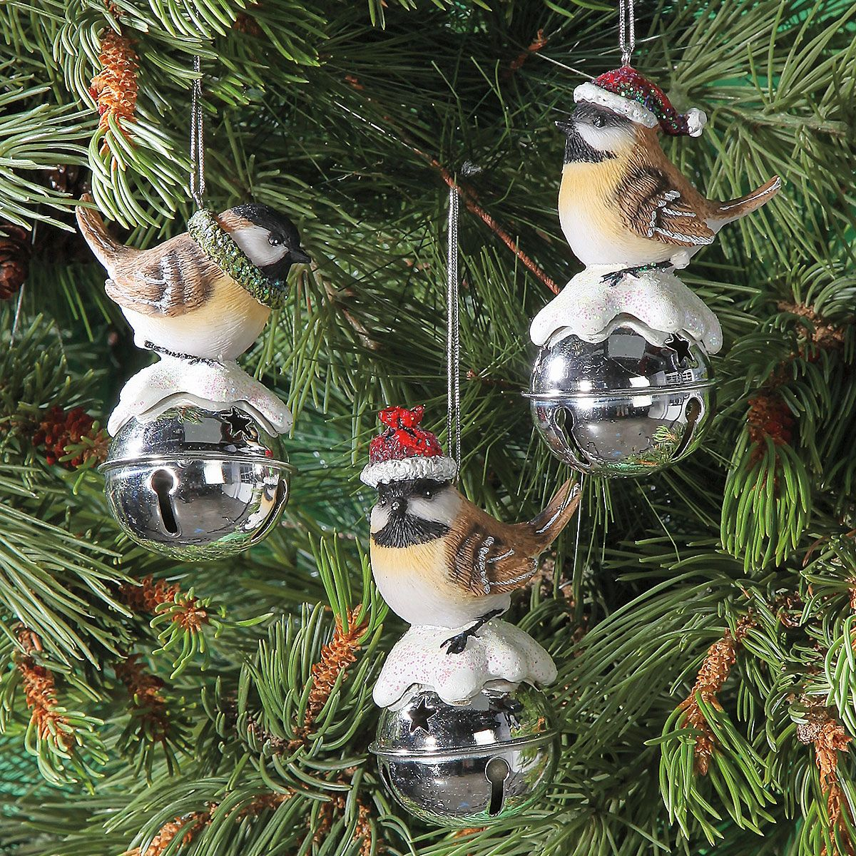 Chickadee Bell Christmas Hanging Ornaments