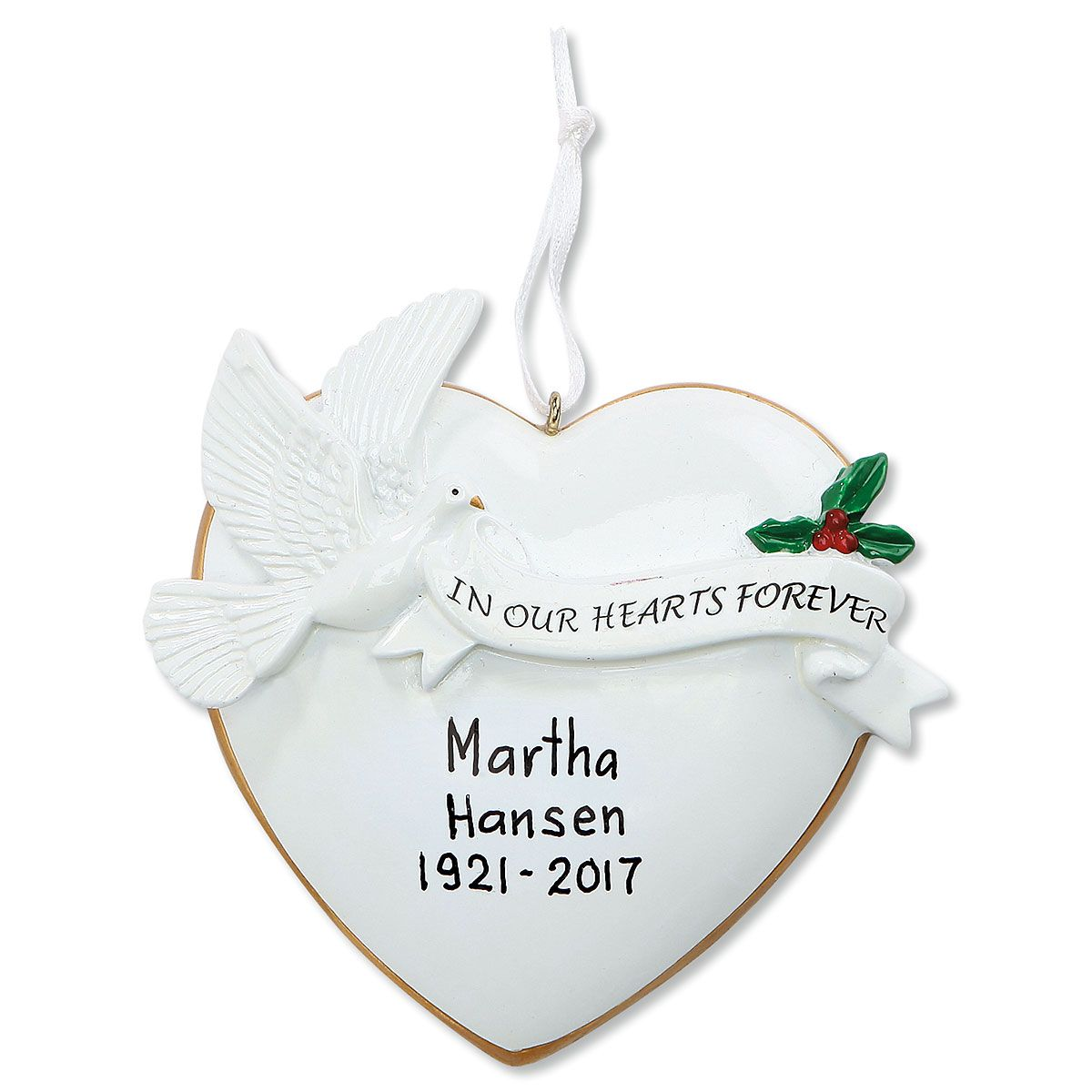Heart Dove In Memory Of Personalized Christmas Ornament