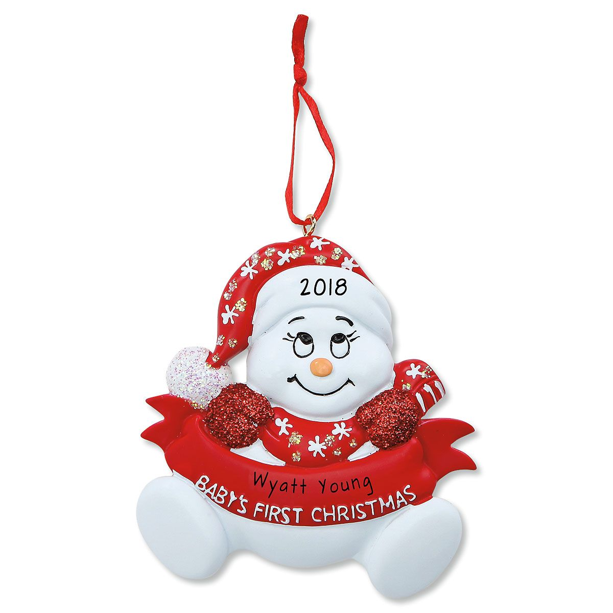 Red Snowman Baby's 1st Personalized Christmas Ornament