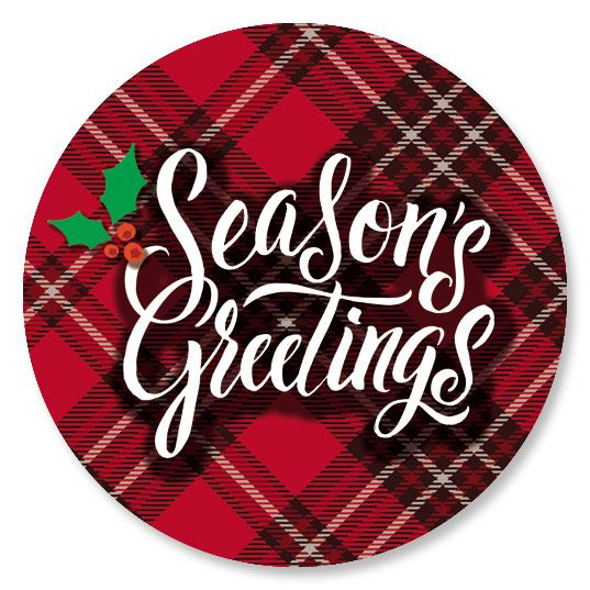 Diecut Plaid Greetings Seals
