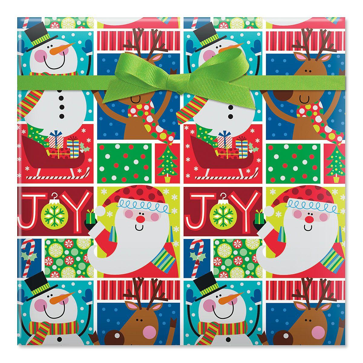 Joy Squares Foil Rolled Gift Wrap