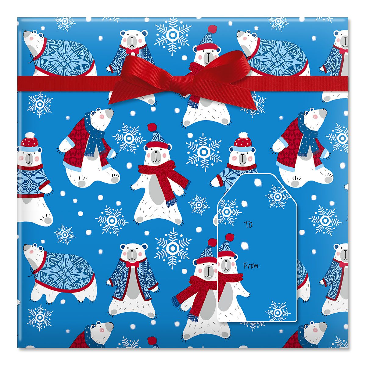 Polar Plunge Jumbo Rolled Gift Wrap and Labels